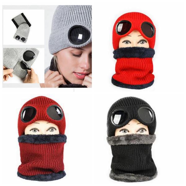 Inverno lana a maglia antivento cappello donne berretti all'uncinetto cappelli sciarpa inverno Gorros sci cap peluche foderato cappelli di vetro set sciarpa MMA1186
