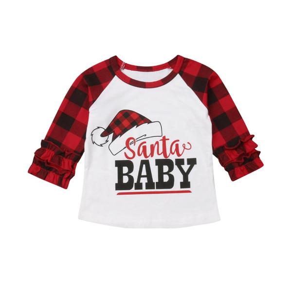 Merry Christmas Santa Baby Pattern Funny Children camiseta Niños para Navidad Ropa de dibujos animados Baby Girls Summer Camiseta de manga larga