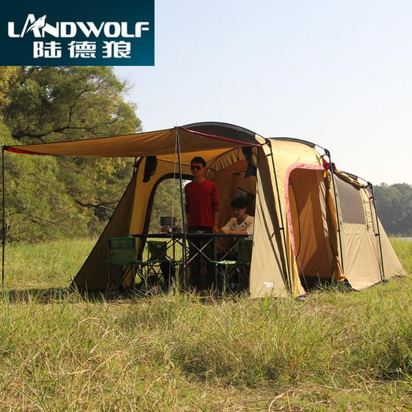 Landwolf Especial grande acampamento ao ar livre 1big hall 1 Quarto para 5-6 pessoas grande família festa em equipe tenda da equipe na cor kakhi