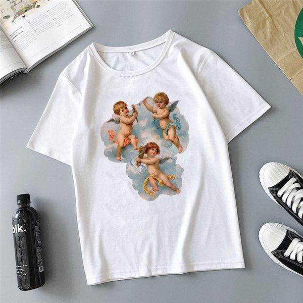 Melek çocuk kavga baskı karikatür sevimli Harajuku yaz yeni moda ins rahat gevşek kadın T-shirt tops