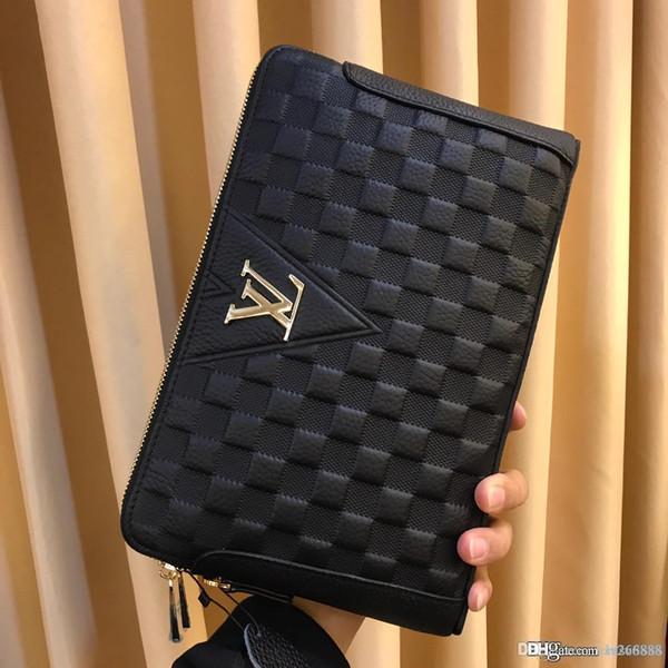 Mode Luxus Herren Leder Doppelgriff mit Geldbörse schwarz einfache Atmosphäre Herren Designer Brieftasche Nummer: 337-5.
