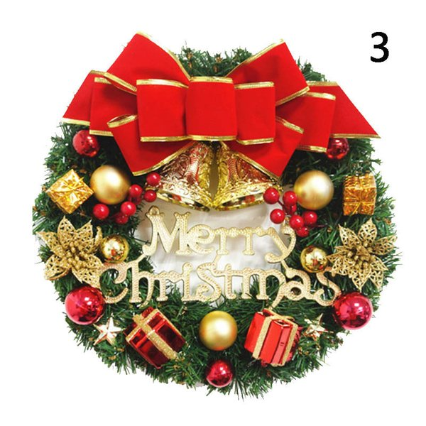 Christmas Wreath Artificial Greenery Spruce Wreathes Decorative Wreath Xmas Ball Gift Box 669