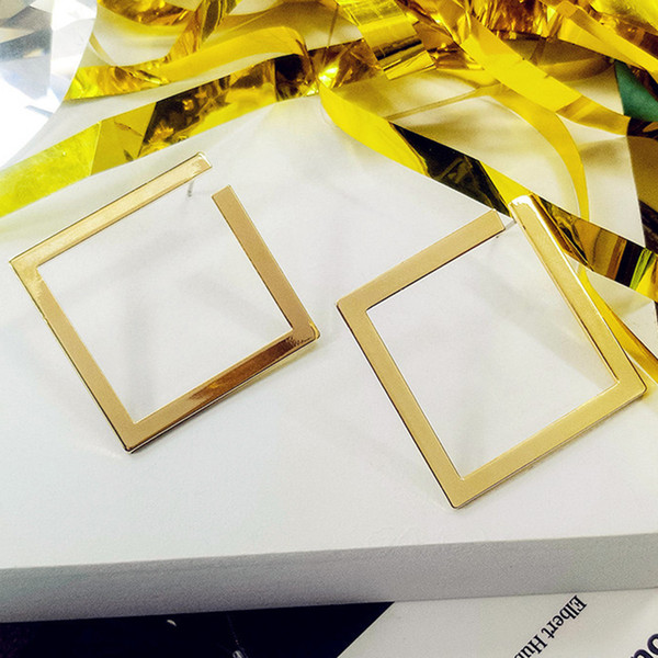 Earrings Hip-Hop Exquisitive Geometric Square Ear Stud Jewelry Alloy