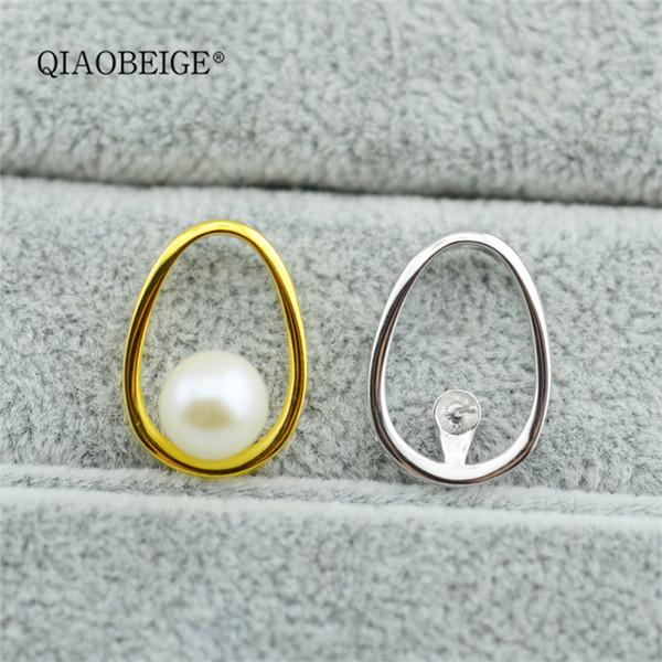 QIAOBEIGE perline sciolte Accessorio in argento sterling 925, pendente per collana ovale, perle piatte da 7-8,5 mm o perle rotonde di acqua dolce