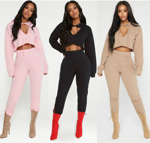 2019 New Womens Tracksuit Fashion Hooded Crop Top And Long Pants 2 Piece Set Female Cotton Casual Suits Summer Outfit