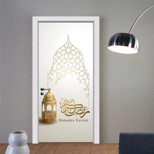 2 Adet / takım Yaratıcı Müslüman İslam Dini Duvar Kapı Çıkartmalar Sahte Kapı Desen Oturma Odası Duvar Kağıdı Duvar Duvar Çıkartm ...