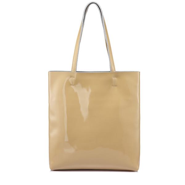 REALER large shoulder bag female soft patent leather tote bag for women handbags ladies messenger bags scratch resistant Gray