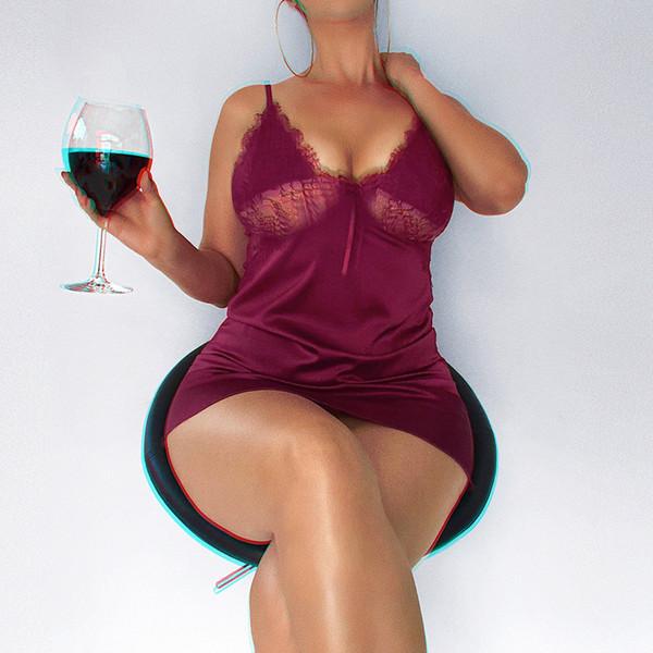 2019 Rosso Nuove Donne Hipster Estate Pura Sexy Sleepwear Pullover Abiti Hippie Abiti da notte per le donne sexy vestito da design nighty Pigiama