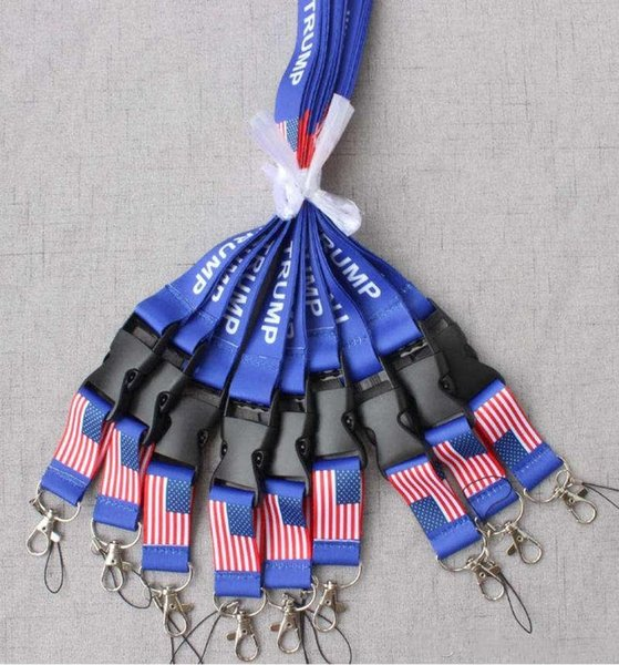 top popular New TRUMP lanyards U.S.A Removable Flag of the United States Key Chains Badge Pendant Party Gift moble phone lanyard 500pcs 2019