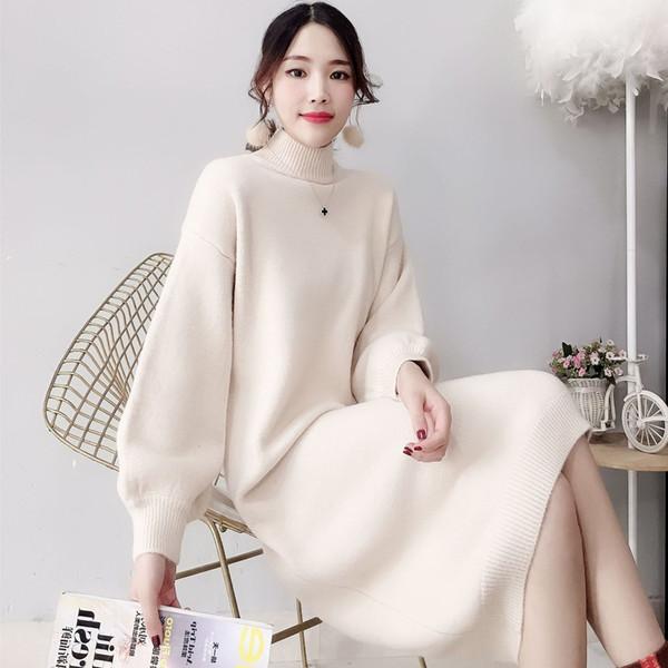 El párrafo del color del caramelo de la lámpara de la jaula de la manga del suéter del vestido femenino 2019 Puro Ambiente color Exteriores Bottoming