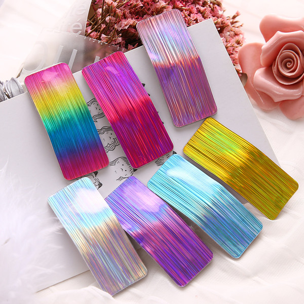 top popular Fashion Women Laser Hair Clip Girls INS Sequin Barrettes Hairpin Classic Baby Headwear Lady Party Hair Accessories TTA966 2019