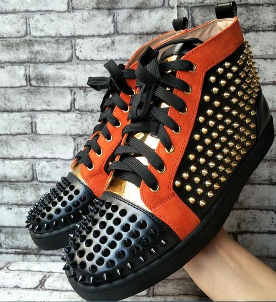 перевозка груза падения новый случайный новый! 2019 моды кроссовки для мужчин с Spikes Высокий Верх красный Casual Skateboarding Спортивная обувь мужская модельная обувь D05