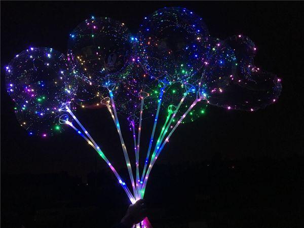 LED blinkende Luftballons Nachtbeleuchtung Bobo Ball Multicolor Dekoration Luftballon Hochzeit dekorative helle Feuerzeug Luftballons mit Stick Hot