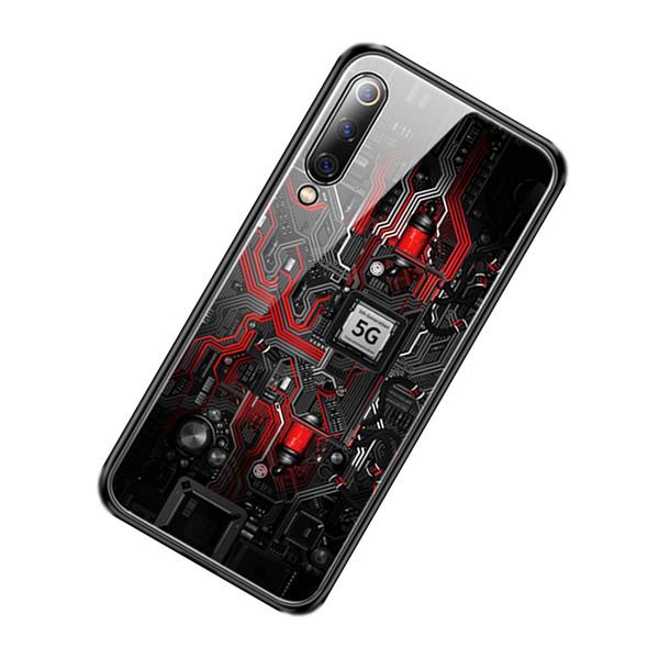 Atacado Caso De Vidro Para Xiaomi mi 9 / Mi 9 Explorer / Xiaomi mi 9 SE Caso Pintado de Vidro Temperado Protetor de Silicone Tampa Completa casos