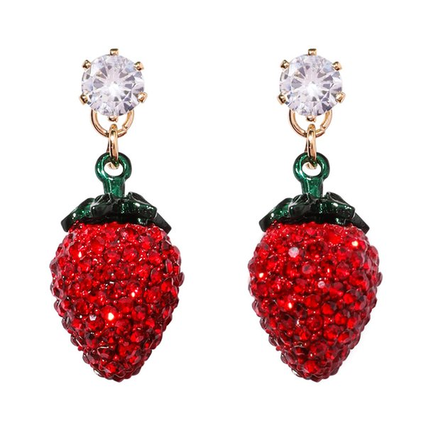 925 Silver Needle Sweet Strawberry Cherry Earrings Cute and Exaggerated tassels Water Drill Super Immortal Long Girl Heart Fall