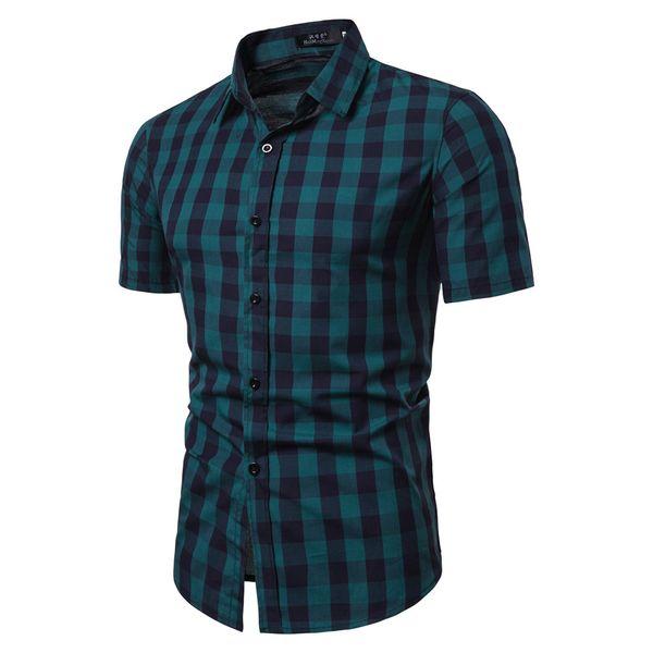 Plaid Shirts Men Dress Spliced Short Sleeve Shirt Casual Summer Male Lapel Top Clothes Asian Size Chemise Homme Manche Court 2#