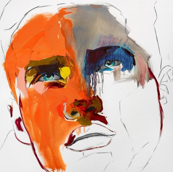 Francoise Nielly Palette Knife Impression Home Artworks Modern Portrait Handmade Oil Painting on Canvas Concave and Convex Texture Face125