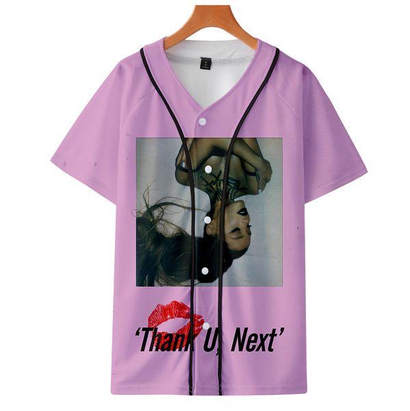 drop shopping 2019 3D Ariana Grande Short sleeve baseball uniform Men/Women summer Casual Harajuku Baseball jacket Clothes