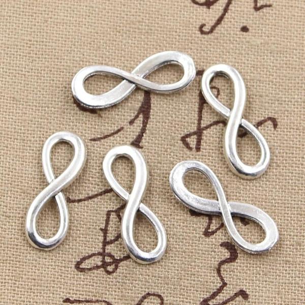 30 adet Charms infinity sembol konnektörler 23 * 8mm Antik charms kolye fit, Vintage Tibet Gümüş, DIY için bilezik kolye