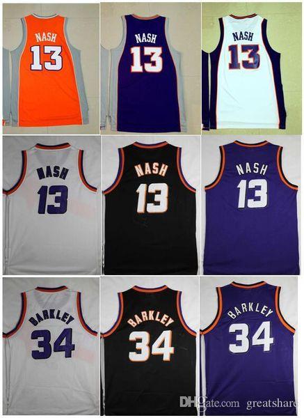 Erkekler en kaliteli nakış Vintage # 13, Steve Nash Jersey siyah beyaz mor # 34 Charles Barkley Jersey Dikişli Gömlek boyut S-XXL