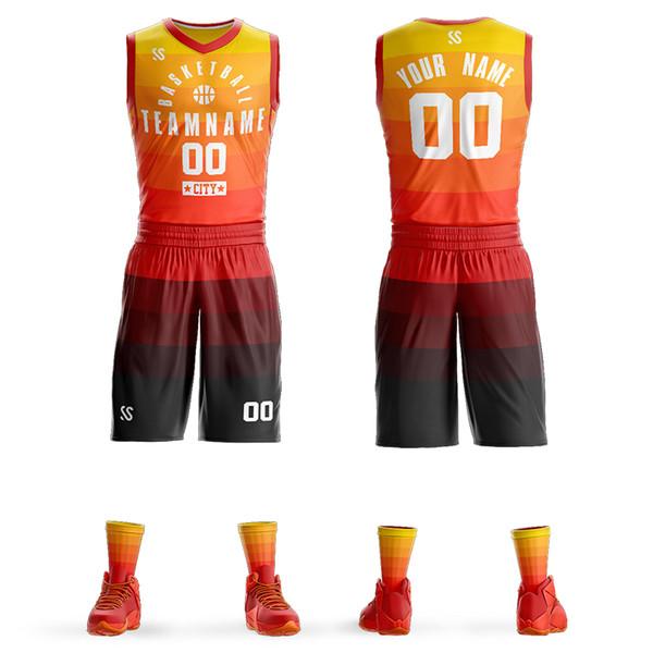 Juegos de camisetas de baloncesto personalizados de los jóvenes de 2019 hombres Equipo de bricolaje personalizado El baloncesto de la universidad lleva conjuntos 6XL