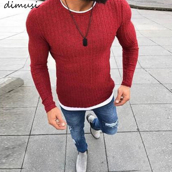 DIMUSI Winter Men New Fashion Pullover Knitted Sweater O-Neck Casual Long Sleeve Warm Pullovers Male Sweaters Plus Size Clothes