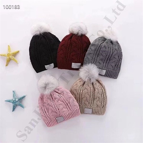 Brand Australia UG Winter Knit Hat Beanie Pompon Real Fur Ball Wool Caps Pom Pom Crochet Hats Warm Fleece Gorro Outdoor Skiiing Cap C110502