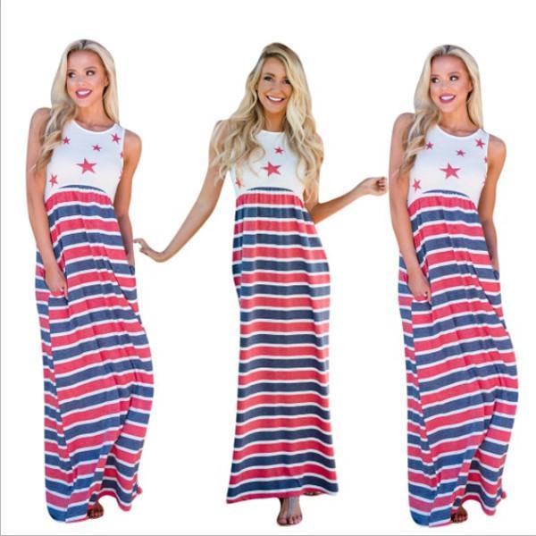 Vestido de grife verão magro vestidos dos eua dia da independência marca de moda rua longo dress mulheres roupas de alta qualidade 2019 new hot top