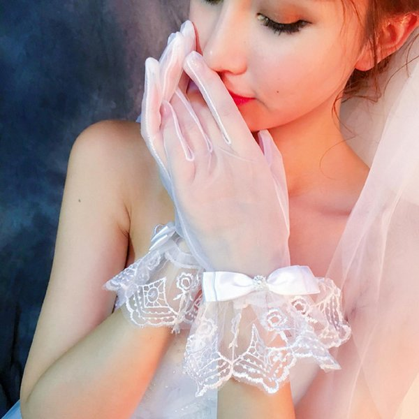 2019 White Bow Lace Short Elegant for Bride Bridal Wedding Gloves Women Finger Cheap