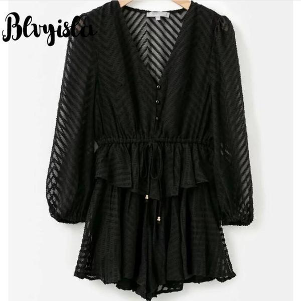 Blvyisla Solid Black White Solid Color Jumpsuit Loose Summer Chiffon Sheer Transparent Beachwear Playsuit Bodysuit Romper