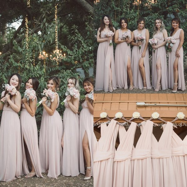 2019 Blush Pink V Neck Bridesmaid Dresses Sexy Side Split Flow Chiffon Garden Rustic Maid Of Honor Wedding Guest Gown Cheap hot Sale