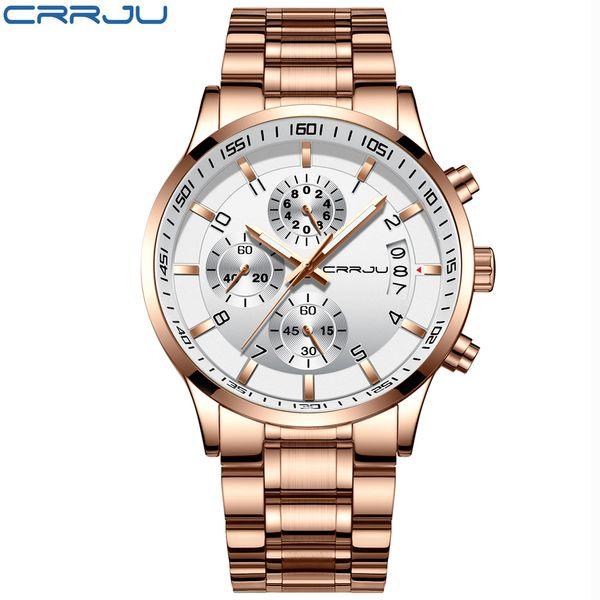 Top Brand CRRJU Man's Analogue Chronograph Quartz Watch with Stainless Steel Bracelete Luminous Wristwatch for Boys Calendar