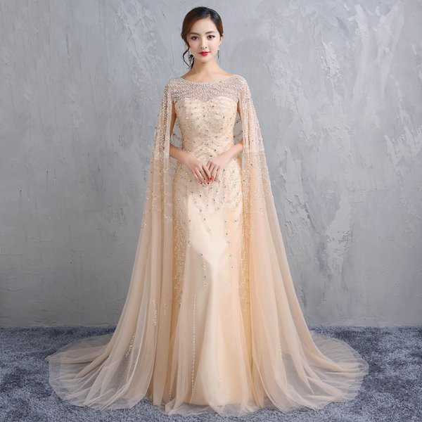 Mermaid Long Party Gowns Luxury Champagne Shawl Shawl Heavy Handmade Bead Prom Dresses Round Neckline To The Evening Dresses