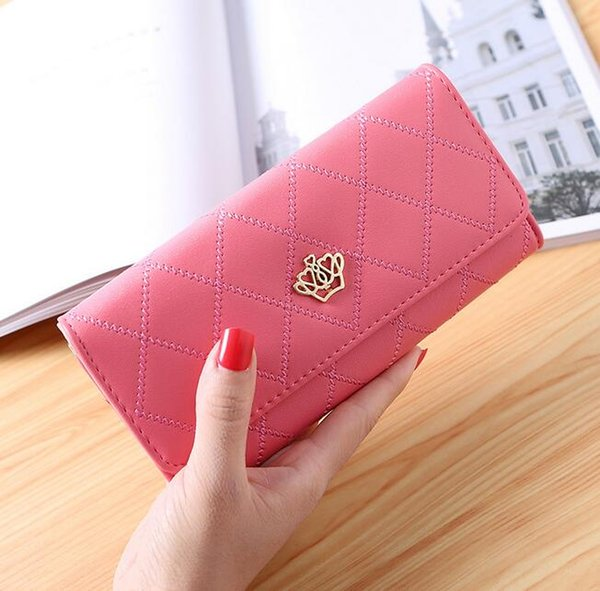 Women's wallet long Korean version of the buckle Lingge love crown wallet embroidered Long Hasp Purse Money Phone Card Holder Coin Pocket