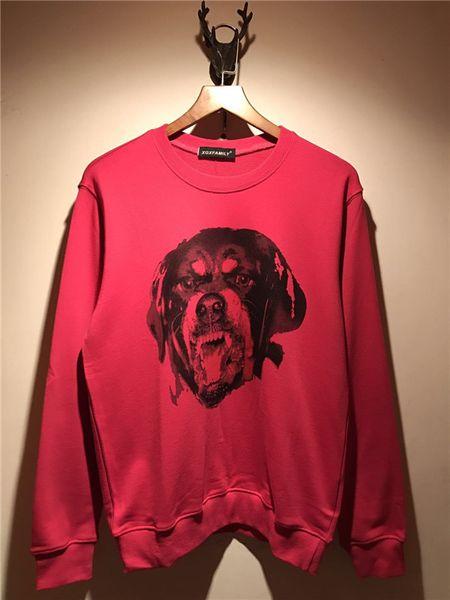 2018 Fashion Brand men's Long sleeve casual sweatshirt sports hoody men rose pink hoodies Dog head sweater Men Hooded Sweatshirt
