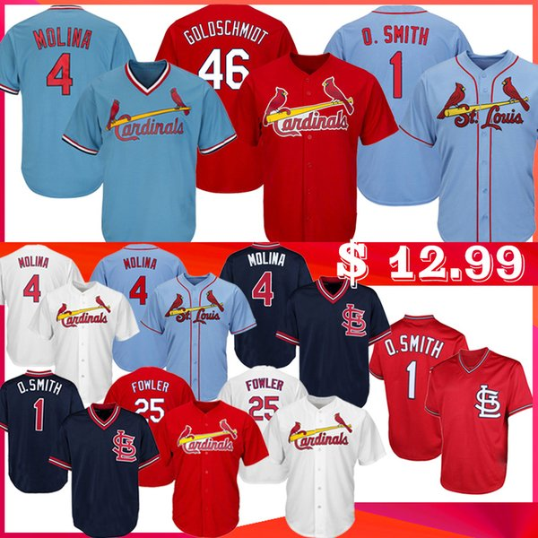 top popular Goldschmidt 4 Yadier Molina Baseball Jerseys Men 1 Ozzie Smith 25 Dexter Fowler 46 Paul Goldschmidt Jersey Baseball 2020