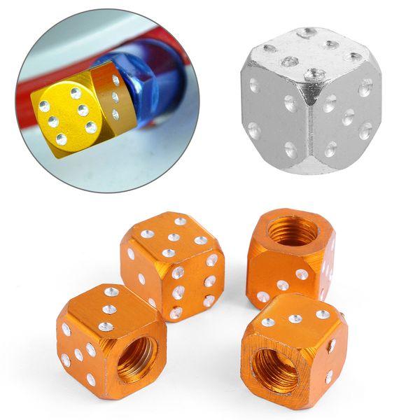 Orange Dice Valve Stem Caps for Car Bike Wheel Tire 4pcs