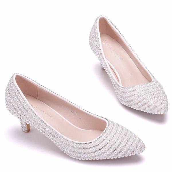 Crystal Queen Women Pumps Wedding Shoes Spring Bridal Shoes High Heels Shallow Mouth Thin Heels Dress Pointed Women Shoes
