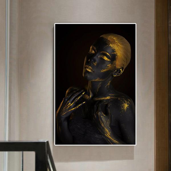 Peinture à l'huile de femme noire nue africaine de mode sur la toile sur des affiches et des impressions scandinave Wall Art Picture No Encadrée