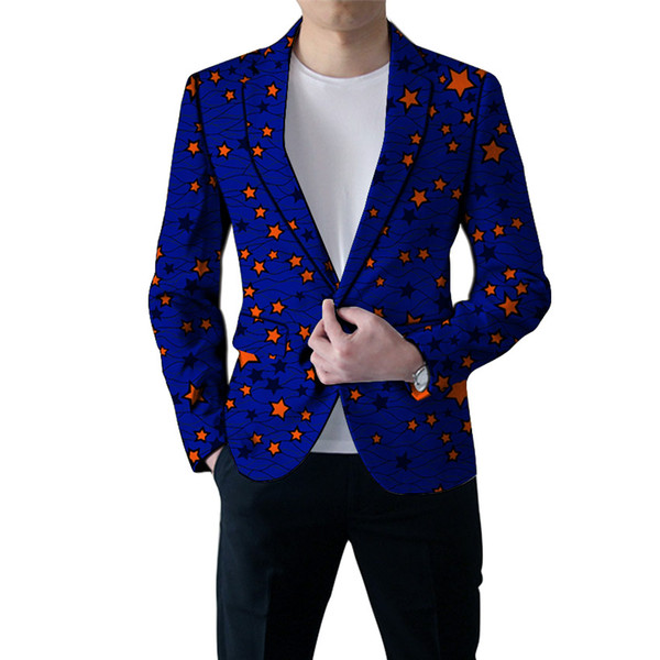 African clothing formal men's print blazers slim fit ankara fashion suit jackets customized for wedding wear male coat