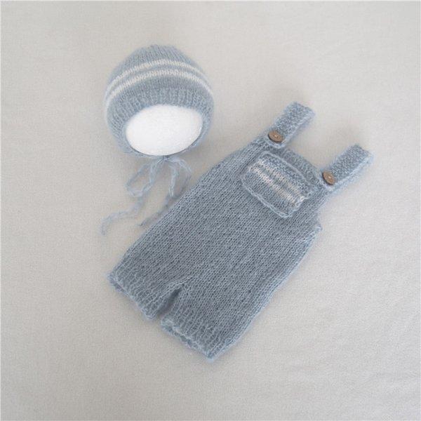 Flluffy neonato cappuccio cofano pagliaccetto set cappello e pantaloni blu chiaro set fatto a mano a maglia bambino vestito attrezzatura fotografica