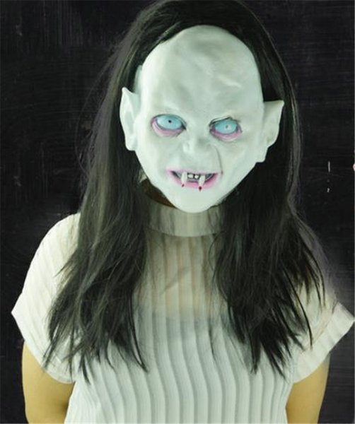 Halloween Witch Ghost Costume Accessories Vendetta Sadako Horror Masks With Hair Thriller Rotocast Unisex Masks