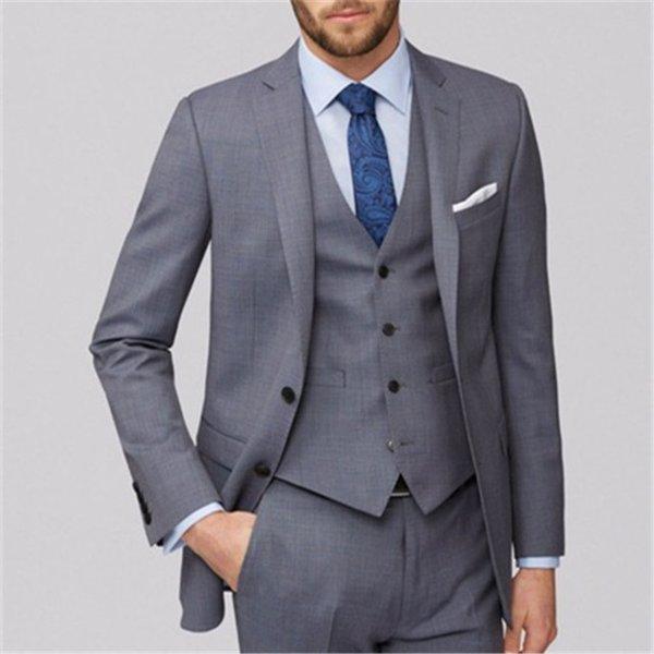 2018 New Style Grey Men Suit For Wedding 3Pieces(Jacket+Pant+Vest+Tie) Costume Homme Latest Designs Masculino Blazer