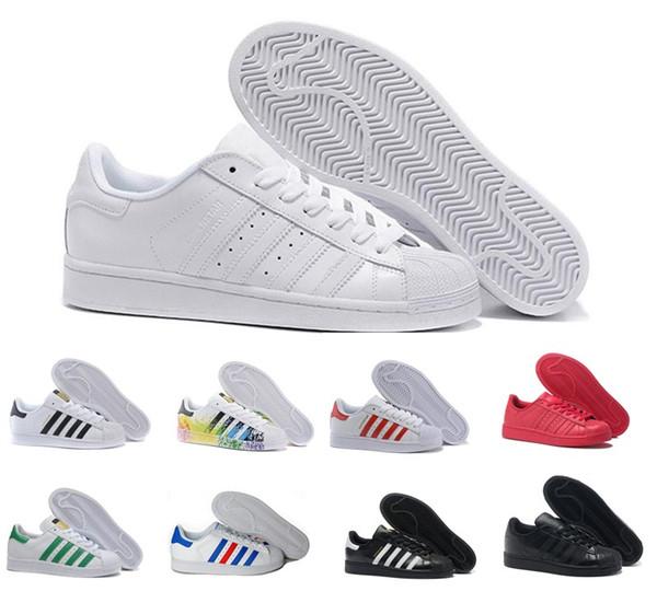 2019 sıcak yaz Süperstar Beyaz Hologram Yanardöner Genç Altın Süperstar Sneakers Sneakers Orijinalleri Süper Yıldız Kadın Erkek Spor rahat Ayakkabılar 36-44