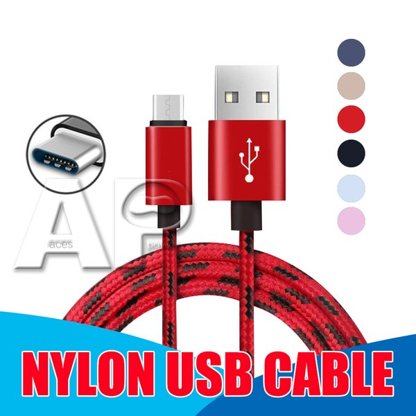 Top quality 2M and 25cm nylon USB Charging Cord Head Metal Cell Phone fast Chargering data Cable For iphone Android Type-C