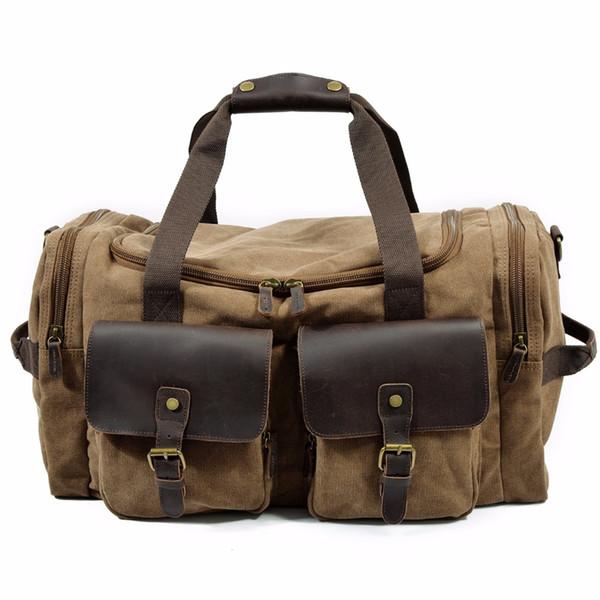 Mens Large Capacity Canvas Leather Travel Duffle Vintage Big Weekend Bag Oversized Luggage Handbags Folding Trip Bags