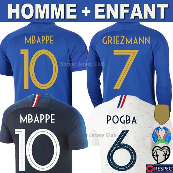 Fransa futbol formaları GRIEZMANN MBAPPE POGBA 100th yıldönümü 100 yıl 2019 Uzun Kollu forması DEMBELE KANTE PAVARD UMTITI Tayland Erkekler Çocuklar Kadınlar gömlek Üniformalar