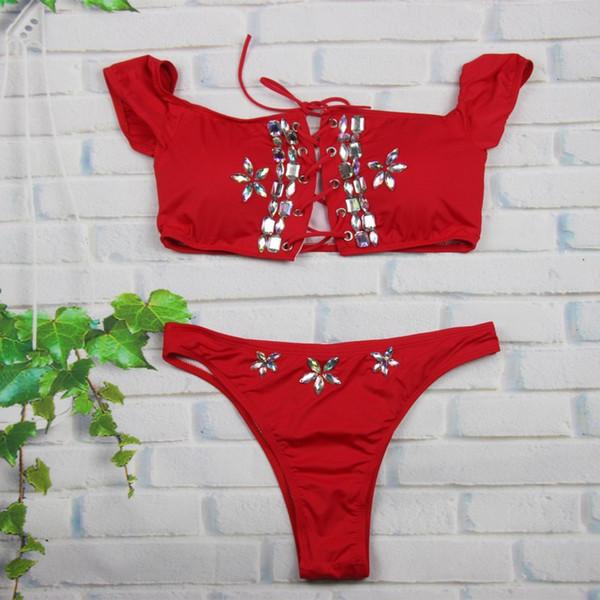 2019 sexy paillettes cristallo diamante donne bikini set avvolto bikini petto imbottito reggiseno fasciatura costumi da bagno costume da bagno costume da bagno rosso