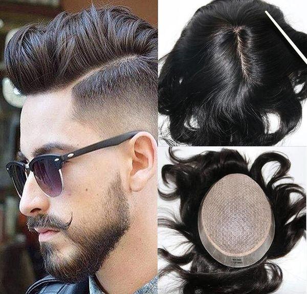 Erkekler Saç Sistemi Peruk Tam Ipek Peruk Siyah Renk # 1B Avrupa Virgin Remy İnsan Saç Siyah Erkekler için Yedek Hızlı Ücretsiz Kargo
