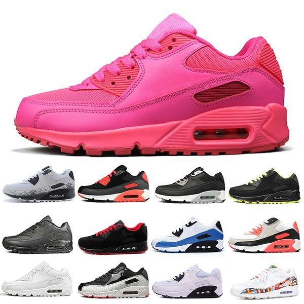Nike Air Max 90 Moda Mujer Para Hombre Diseñador Cushion Zapatos Para Correr Pink Infrared Bred Triple Negro Más Blanco Pink Entrenadores De Las